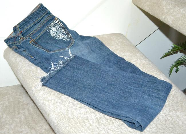 Ed Hardy Embroidery Low Rise Distressed Skinny Straight Leg Jeans-Distressed Image 3