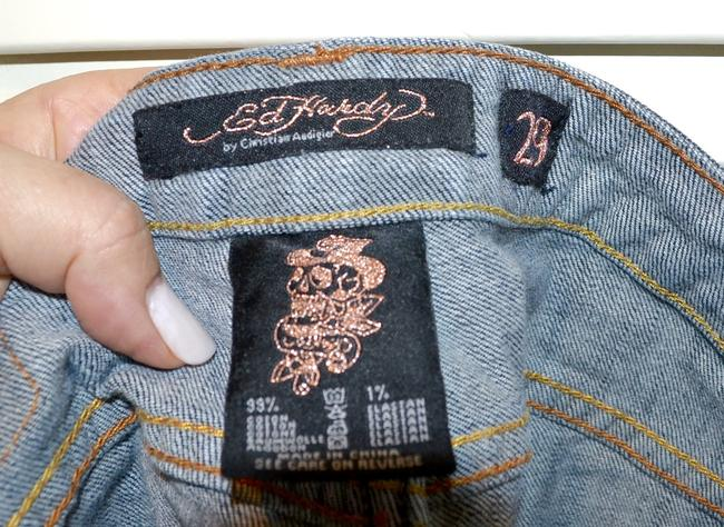 Ed Hardy Embroidery Low Rise Distressed Skinny Straight Leg Jeans-Distressed Image 5