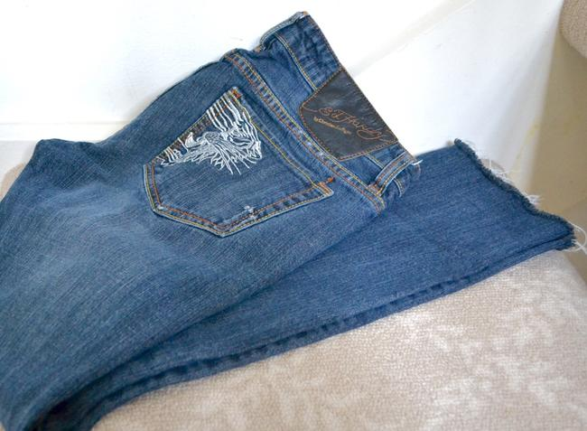 Ed Hardy Embroidery Low Rise Distressed Skinny Straight Leg Jeans-Distressed Image 7