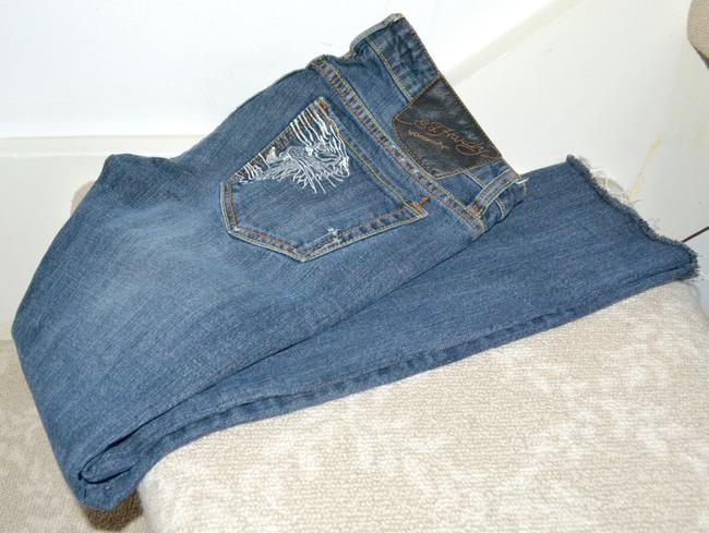 Ed Hardy Embroidery Low Rise Distressed Skinny Straight Leg Jeans-Distressed Image 8