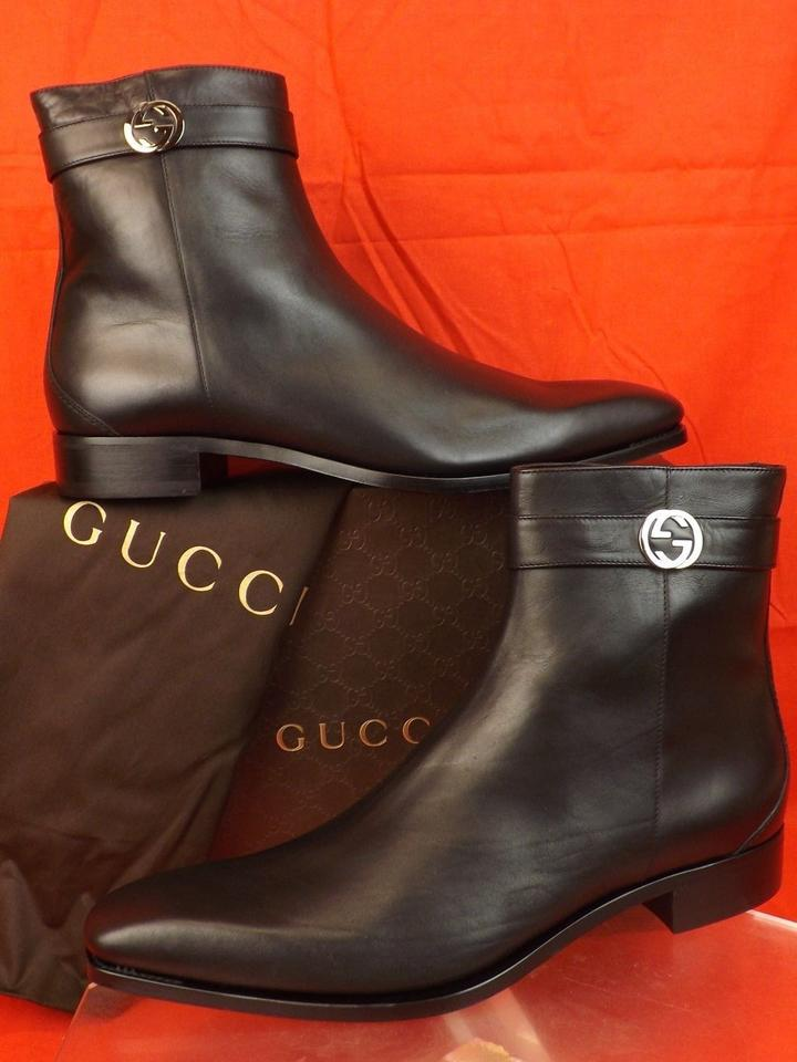 c59e476e461 Gucci Black Mens Cork Leather Belted Logo Zip Ankle Boots 13.5 14.5  114415  Shoes Image ...