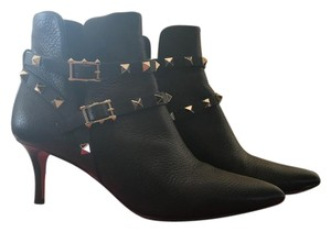 Valentino Leather Rockstud Ankle Black Boots