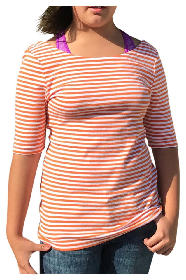 f4ed5757536e Banana Republic Orange Stripe Knit Boatneck Nautical Tee Shirt Size ...