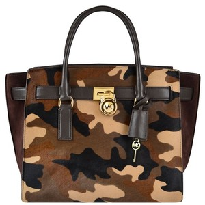 Michael Kors Mk Hamilton Duffle Mk Camouflage Mk Satchel Mk Calf Hair Tote in Brown Camouflage/Gold hardware
