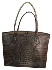 Brahmin Leather Tote in ALMOND