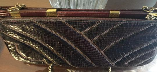 bags by Supreme Leather Snakeskin Brown Clutch Image 4