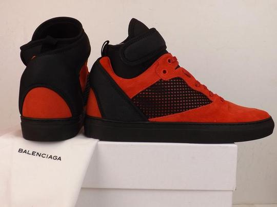 Balenciaga Red/Black Mens Mesh Neoprene Strap Hi Top Sneakers 47 Us 14 Shoes Image 1