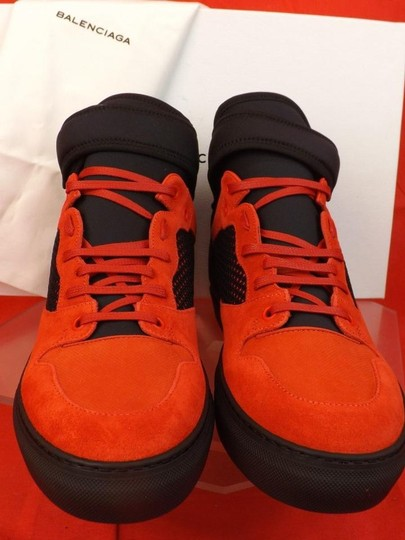 Balenciaga Red/Black Mens Mesh Neoprene Strap Hi Top Sneakers 47 Us 14 Shoes Image 2