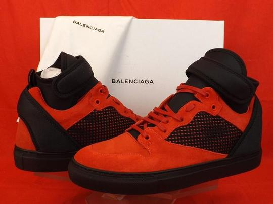Balenciaga Red/Black Mens Mesh Neoprene Strap Hi Top Sneakers 47 Us 14 Shoes Image 3