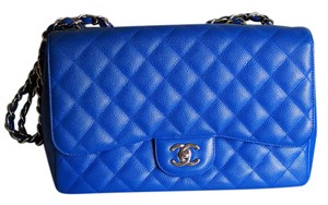 Chanel Caviar Jumbo 10c Bleu Roi Roi Shoulder Bag