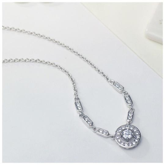 Other Swarovski Crystal Circle Silver Necklace S8 Image 2
