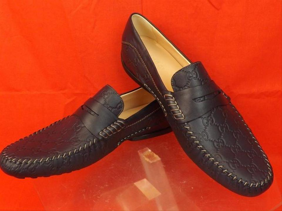 bb8cafb92f9 Gucci Blue Mens Navy Leather Gg Guccissima Driving Loafers 12.5 13.5   170618 Shoes Image 0 ...