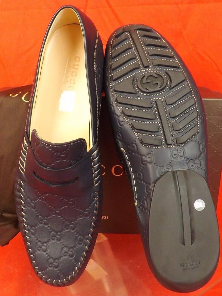 e2b419688c7 Gucci Blue Mens Navy Leather Gg Guccissima Driving Loafers 12.5 13.5   170618 Shoes Image 6. 1234567
