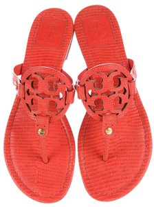 Tory Burch Miller Reva Logo Gold Hardware Textured Orange Sandals