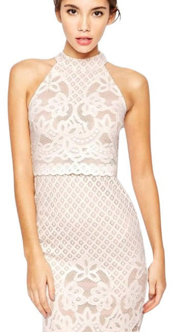 Item - White with Soft Pink Underlay. 3563551 Body-conscious In Lace High Neck Mid-length Night Out Dress Size Petite 4 (S)