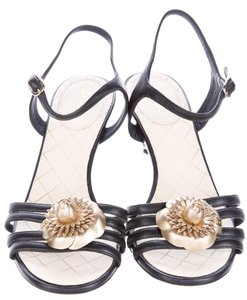 Chanel Camellia Interlocking Cc Ankle Strap Peep Toe Gold Hardware Black, Gold Sandals