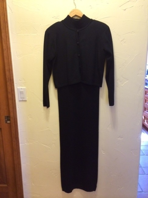 Ellen Tracy Knit Long Sleeveless Turtleneck Matching Jacket All Seasons Covered Buttons Elegant Dry Clean Dress