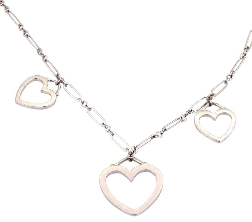 Tiffany co white gold triple heart pendant with pouch necklace 18k white gold triple heart pendant necklace with pouch aloadofball Images