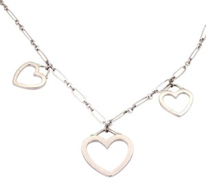 Tiffany & Co. 18K White Gold Triple Heart Pendant Necklace with Pouch