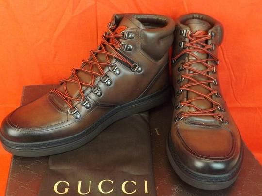 Gucci Cocoa Mens Leather Interlocking Gg Logo Hi Top Boots Sneaker 10.5 11.5 Shoes Image 1