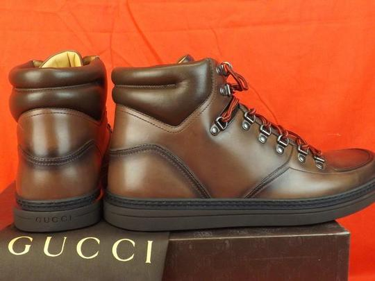 Gucci Cocoa Mens Leather Interlocking Gg Logo Hi Top Boots Sneaker 10.5 11.5 Shoes Image 5