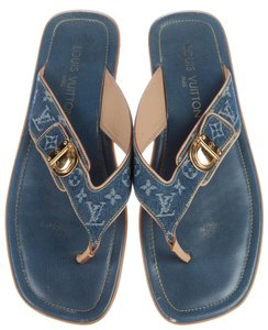 Louis Vuitton Leather Monogram Lv Gold Hardware Denim Beige, Blue Sandals