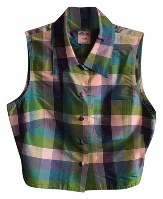 Moschino Multicolored Blue and Green Made In Italy Halter Top Size 8 (M) Moschino Multicolored Blue and Green Made In Italy Halter Top Size 8 (M) Image 1