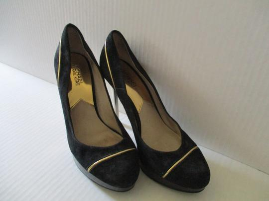 Michael Kors Stiletto Snakeskin Black Suede Gold Heels and Piping Pumps Image 1