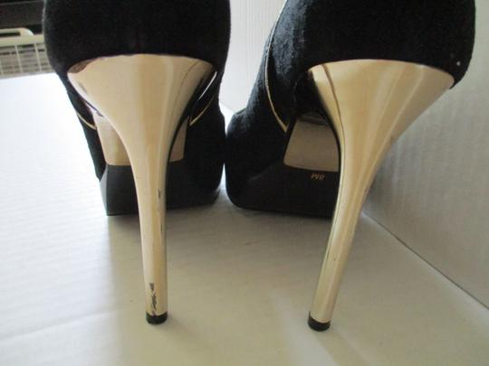 Michael Kors Stiletto Snakeskin Black Suede Gold Heels and Piping Pumps Image 4