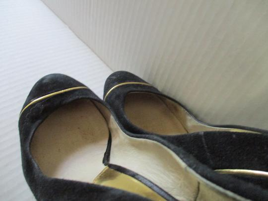 Michael Kors Stiletto Snakeskin Black Suede Gold Heels and Piping Pumps Image 6