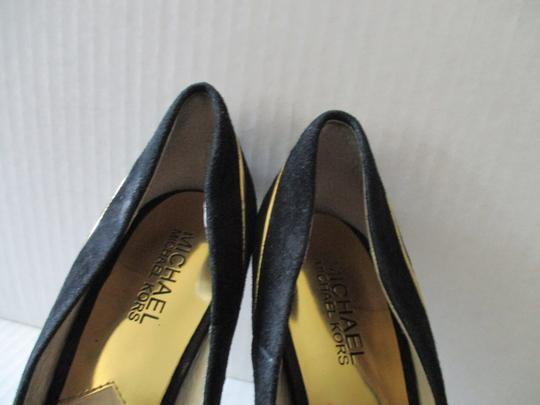 Michael Kors Stiletto Snakeskin Black Suede Gold Heels and Piping Pumps Image 7