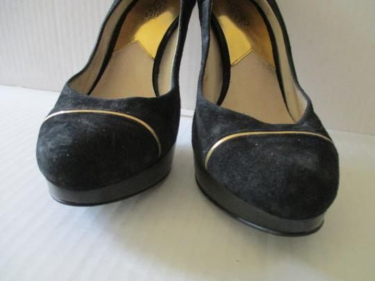Michael Kors Stiletto Snakeskin Black Suede Gold Heels and Piping Pumps Image 8