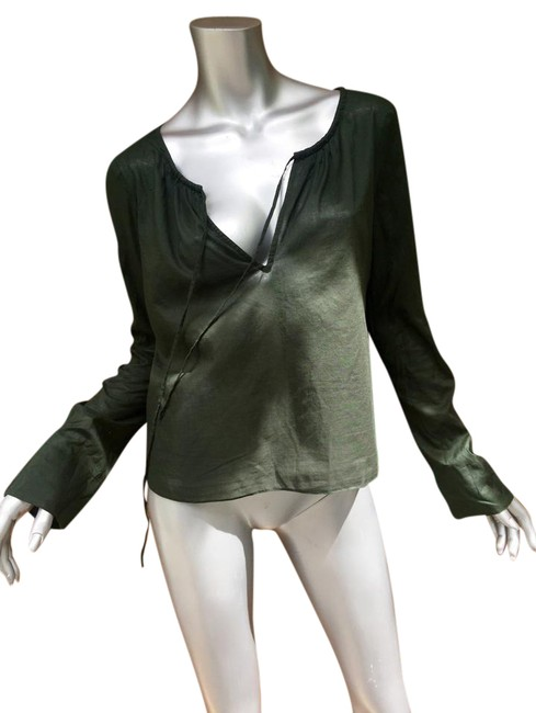 Preload https://img-static.tradesy.com/item/21284879/theory-olive-sheer-tunic-blouse-size-8-m-0-4-650-650.jpg