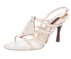Louis Vuitton Lv Strappy Gold Hardware Ankle Strap Monogram White, Brown Sandals