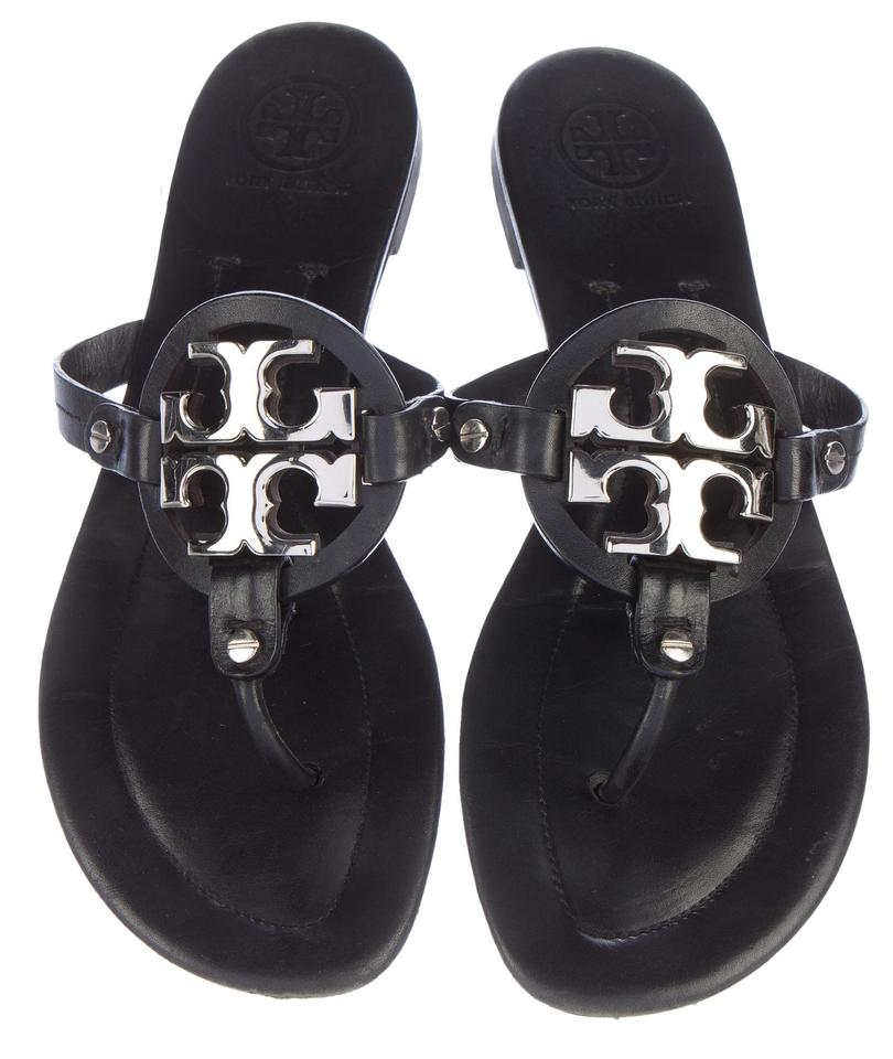 edac7664a6e5d Tory Burch Black Gold Leather Gold-tone Buckle Miller Sandals. Size  US 10  ...