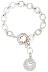 Dior Silver-tone Christian Dior chain ling charm crystal bracelet
