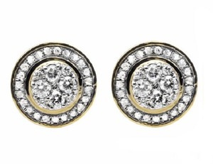 Jewelry Unlimited Round 10MM Halo Flower Genuine Diamond Stud Earrings 0.75ct.