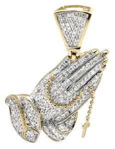 Jewelry Unlimited Tilted Praying Hand Rosary 1.5 Inch Diamond Pendant Charm 1.25CT