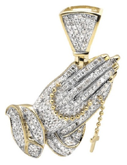 Preload https://img-static.tradesy.com/item/21285152/10k-yellow-gold-tilted-praying-hand-rosary-15-inch-diamond-pendant-125ct-charm-0-0-540-540.jpg