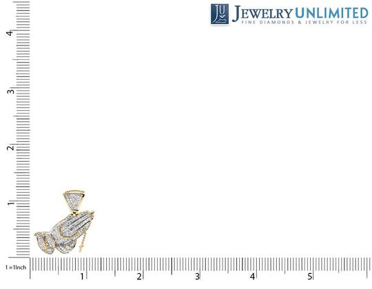 Jewelry Unlimited Tilted Praying Hand Rosary 1.5 Inch Diamond Pendant Charm 1.25CT Image 1