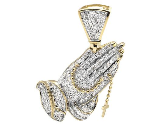 Jewelry Unlimited Tilted Praying Hand Rosary 1.5 Inch Diamond Pendant Charm 1.25CT Image 2