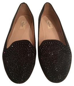 Valentino Crystals Embellished Loafers Studded Ballerinas Black Flats