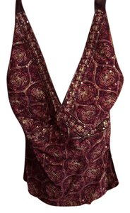 The Limited cranberry Ted and gold Halter Top