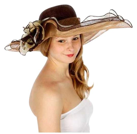 Preload https://img-static.tradesy.com/item/21285281/brown-new-sinamay-dress-features-a-wide-wavy-brim-and-a-large-flower-hat-0-1-540-540.jpg