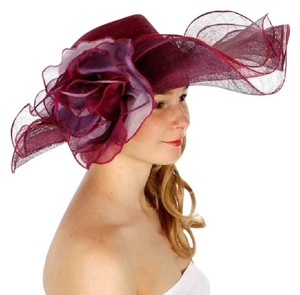 kentucky derby hat New Sinamay dress hat features a wide, wavy brim and a large flower