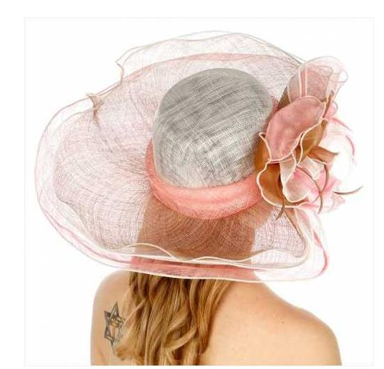 kentucky derby hat New Sinamay dress hat features a wide, wavy brim and a large flower Image 1