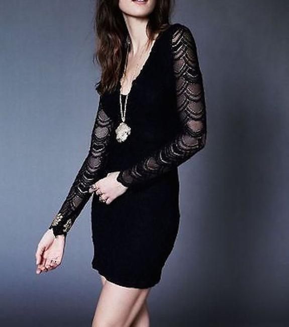 Free People short dress Black Bodycon Party Cocktail Formal Wedding Guest Long Sleeve Mini Holiday Nye on Tradesy Image 1