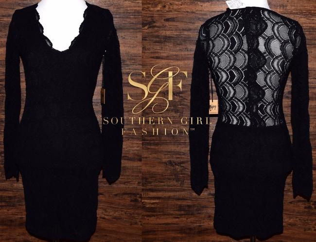 Free People short dress Black Bodycon Party Cocktail Formal Wedding Guest Long Sleeve Mini Holiday Nye on Tradesy Image 8