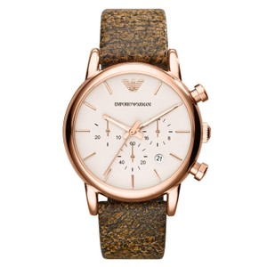 Emporio Armani EMPORIO ARMANI Chronograph Brown Dial Brown Leather Men's Watch