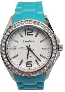 Armitron Ladies 75/3935SV Baby Blue Band & White Crown With Diamond Accent